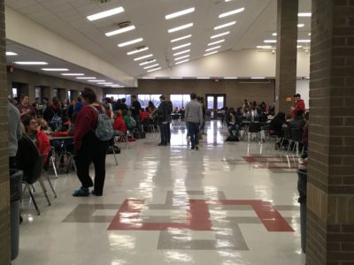 The stage was set to honor the scholar students in the high school cafeteria.