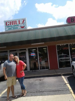 Owners Dorothy and Jeff Tinsley stand in front of Chillz.