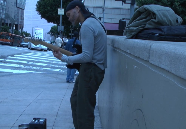 Guitarist plays streets of                 Los Angeles